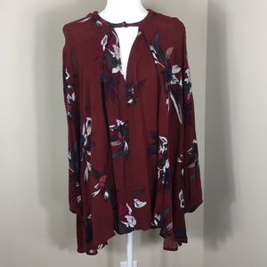 Free People Maroon Floral Tunic
